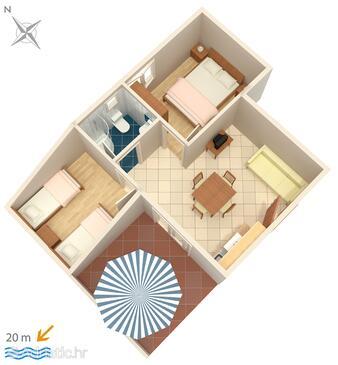 Crikvenica, Půdorys v ubytování typu apartment, WiFi.