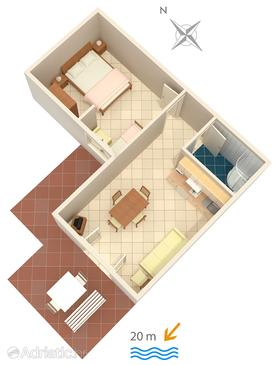 Crikvenica, Pôdorys v ubytovacej jednotke apartment, domáci miláčikovia povolení a WiFi.