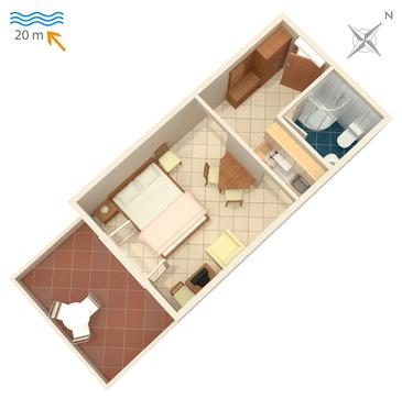 Crikvenica, Plan in the studio-apartment, dopusteni kucni ljubimci i WIFI.