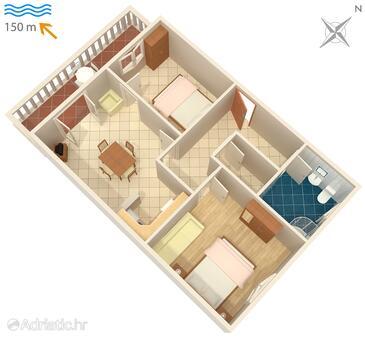Duga Luka (Prtlog), Plan in the apartment, WiFi.