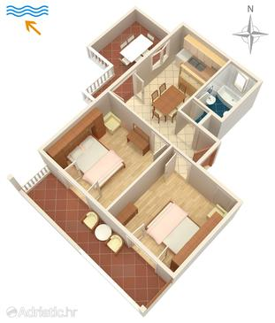 Šimuni, Půdorys v ubytování typu apartment, WiFi.