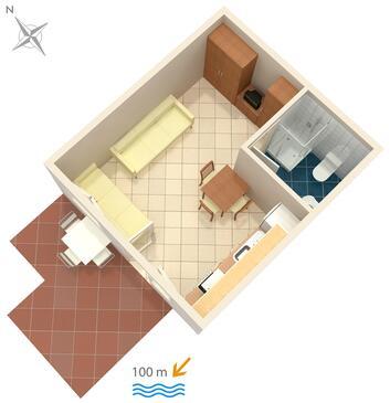 Crikvenica, Plan in the studio-apartment, dopusteni kucni ljubimci i WIFI.