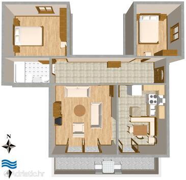 Selce, Půdorys v ubytování typu apartment, WiFi.