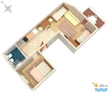 Selce, plattegrond in the apartment, (pet friendly) en WiFi.