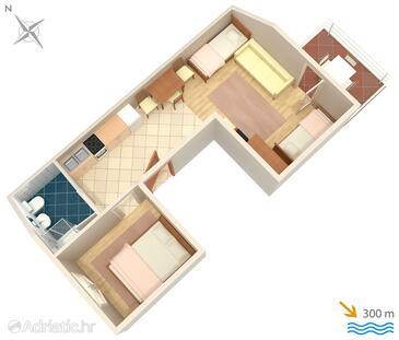 Selce, Nacrt u smještaju tipa apartment, kućni ljubimci dozvoljeni i WiFi.