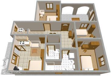 Šmrika, Půdorys v ubytování typu apartment, domácí mazlíčci povoleni a WiFi.
