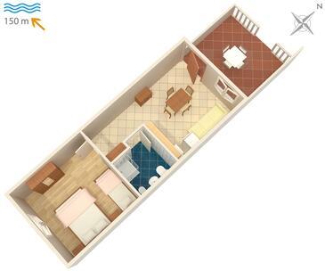 Duga Luka (Prtlog), Plan kwatery w zakwaterowaniu typu apartment, dopusteni kucni ljubimci i WIFI.