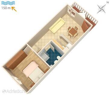 Duga Luka (Prtlog), Plan kwatery w zakwaterowaniu typu apartment, zwierzęta domowe są dozwolone i WiFi.