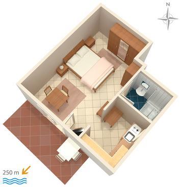 Selce, Plan kwatery w zakwaterowaniu typu studio-apartment.