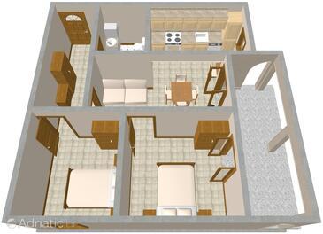 Presika, План в размещении типа apartment, dopusteni kucni ljubimci i WIFI.