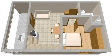 Presika, Půdorys v ubytování typu apartment, domácí mazlíčci povoleni a WiFi.