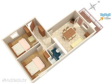 Dramalj, Plan in the apartment, (pet friendly) and WiFi.