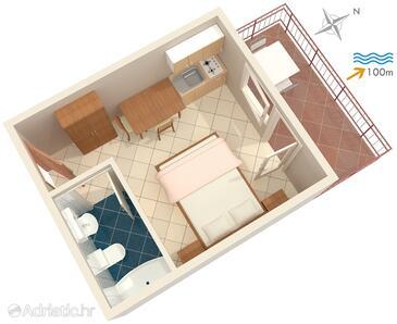 Dramalj, План в размещении типа studio-apartment, Домашние животные допускаются и WiFi.