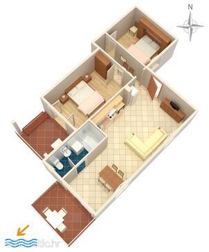 Jadranovo, Plan in the apartment, dopusteni kucni ljubimci i WIFI.