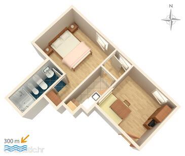 Dramalj, Plan in the apartment, WIFI.