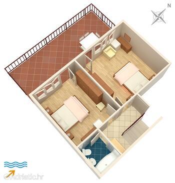 Selce, Půdorys v ubytování typu apartment, domácí mazlíčci povoleni a WiFi.