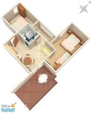Selce, Plan kwatery w zakwaterowaniu typu apartment.