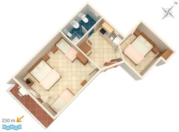 Selce, plattegrond in the apartment.