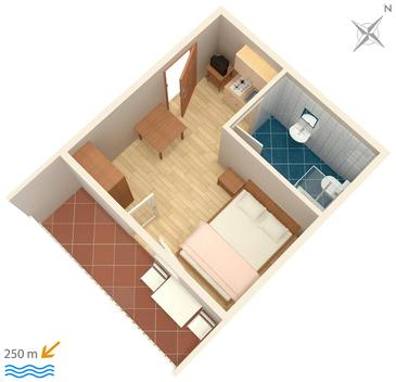 Selce, Plan in the studio-apartment.