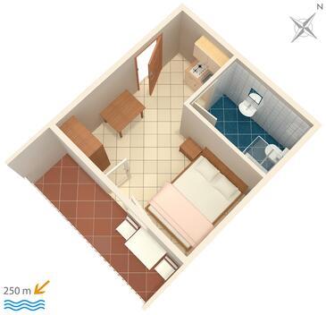 Selce, Plan kwatery w zakwaterowaniu typu studio-apartment, dopusteni kucni ljubimci.