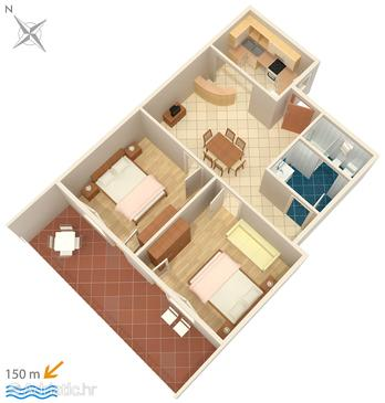 Dramalj, Plan in the apartment, dopusteni kucni ljubimci i WIFI.