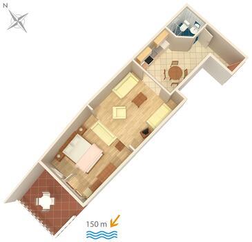 Dramalj, Plan kwatery w zakwaterowaniu typu studio-apartment, dopusteni kucni ljubimci i WIFI.