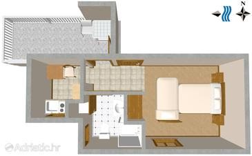 Dramalj, Plan in the studio-apartment, dopusteni kucni ljubimci.