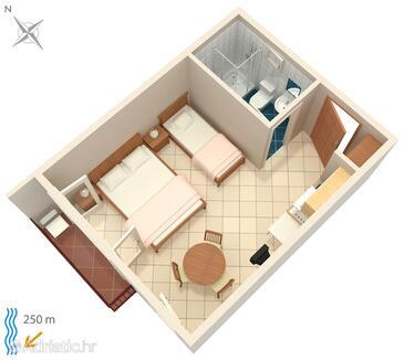 Crikvenica, Plan in the studio-apartment, WIFI.