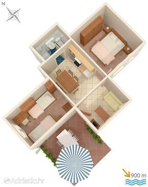 Njivice, План в размещении типа apartment, WiFi.