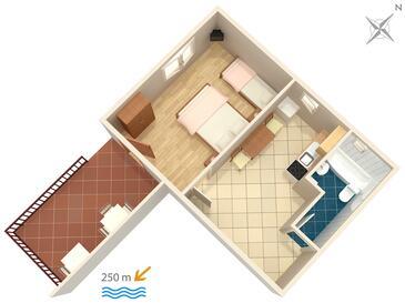 Dramalj, Plan kwatery w zakwaterowaniu typu apartment, WIFI.