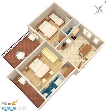 Dramalj, Pôdorys v ubytovacej jednotke apartment, WiFi.