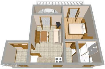 Povile, Půdorys v ubytování typu apartment, WiFi.