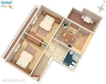 Sveti Juraj, Plan in the apartment, WiFi.