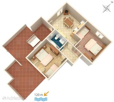 Zubovići, plattegrond in the apartment, (pet friendly) en WiFi.