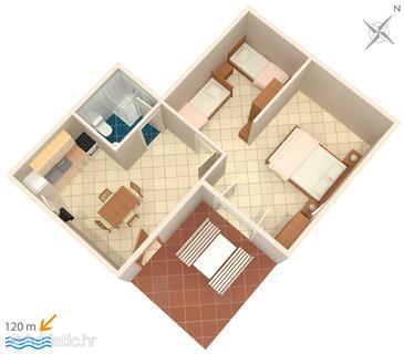 Zubovići, Grundriss in folgender Unterkunftsart apartment, Haustiere erlaubt und WiFi.