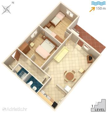 Okrug Donji, Půdorys v ubytování typu house, domácí mazlíčci povoleni a WiFi.
