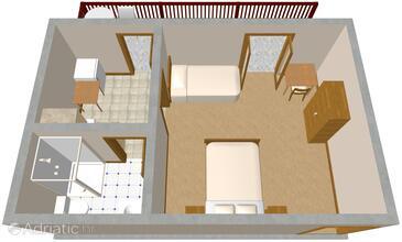 Klenovica, Plan in the studio-apartment.