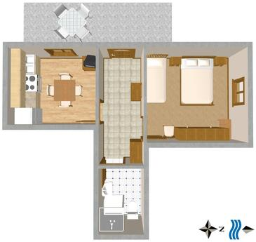Komiža, Plan in the apartment, dopusteni kucni ljubimci i WIFI.