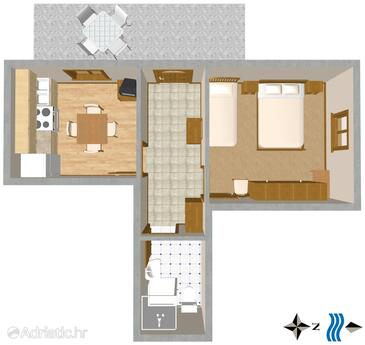 Komiža, План в размещении типа apartment, WiFi.