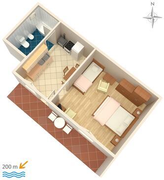 Novi Vinodolski, Pôdorys v ubytovacej jednotke studio-apartment, WIFI.