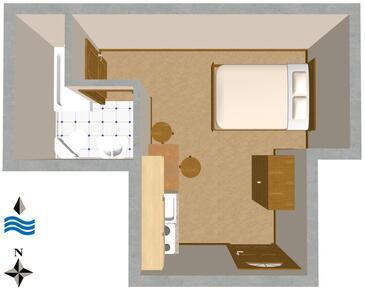 Komiža, Půdorys v ubytování typu studio-apartment, domácí mazlíčci povoleni a WiFi.