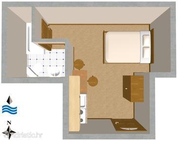 Komiža, Nacrt u smještaju tipa studio-apartment, kućni ljubimci dozvoljeni i WiFi.