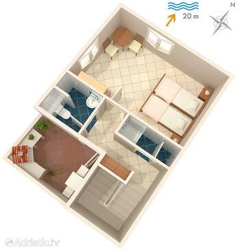 Komiža, Plan in the studio-apartment, dopusteni kucni ljubimci i WIFI.