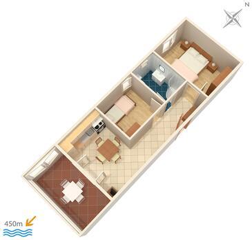 Povljana, Plan kwatery w zakwaterowaniu typu apartment, dopusteni kucni ljubimci i WIFI.