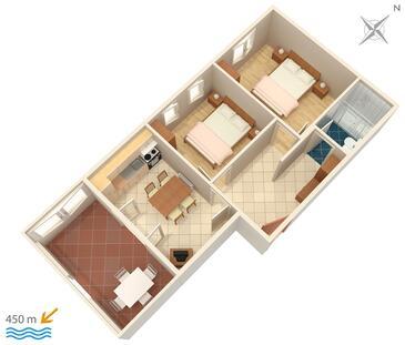 Povljana, Půdorys v ubytování typu apartment, dopusteni kucni ljubimci i WIFI.