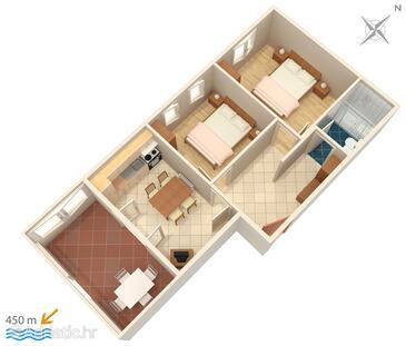 Povljana, Nacrt u smještaju tipa apartment, kućni ljubimci dozvoljeni i WiFi.