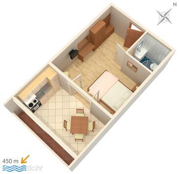 Povljana, Plan in the studio-apartment, dopusteni kucni ljubimci i WIFI.
