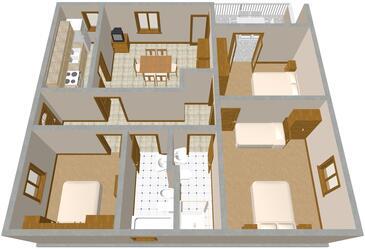 Komiža, Půdorys v ubytování typu apartment, domácí mazlíčci povoleni a WiFi.