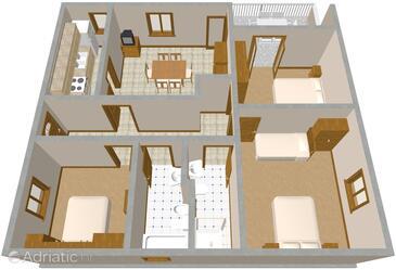 Komiža, Nacrt u smještaju tipa apartment, kućni ljubimci dozvoljeni i WiFi.