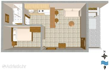 Rukavac, plattegrond in the studio-apartment, (pet friendly).